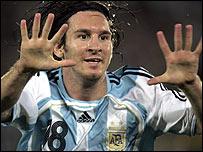 Lionel Messi celebrates his wonder goal