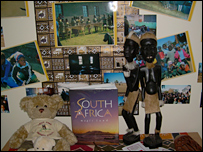 Statues and artefacts in a display on South Africa
