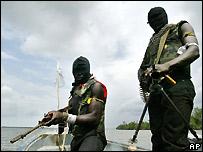Nigerian gunmen in Niger Delta - file photo