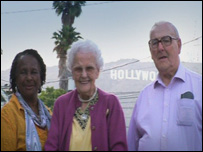 Winifred, Alf and Norma outside the famous Hollywood sign