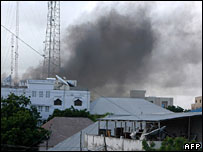 Smoke rising above Mogadishu after explosions (File pic)
