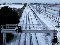 Snow-covered track near Folkestone in Kent