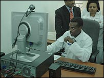 Doctor at Addis Ababa's Black Lion Hospital consults via live tele-conference with a doctor in Hyderabad, India