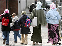 Girls and women wearing Muslim headscarves in Berlin
