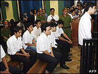Vietnam footballers on trial in Ho Chi Minh city on 25 January 2006