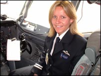 Joanne Linton in a 747 plane