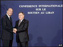 French President Jacques Chirac and Lebanese Prime Minister Fouad Siniora at the Paris donors' conference