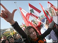 Lebanese Christian ant-government protestors