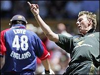 Brett Lee gets the ball rolling for Australia as Mal Loye departs