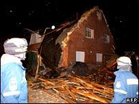 German house destroyed by winter storm Kyrill