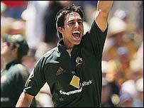 Mitchell Johnson takes a wicket