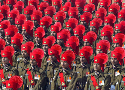 Security personnel march at the Republic Day Parade in Delhi, India