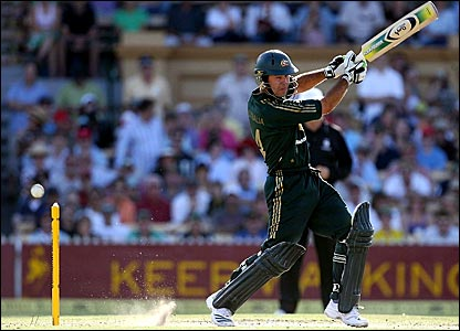 Ricky Ponting crashes a shot through the off-side
