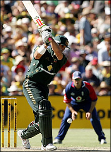 Matthew Hayden plays a shot