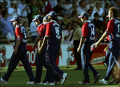 England players leave the Adelaide Oval after a crushing defeat