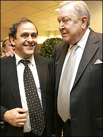 Michel Platini with his predecessor Lennart Johansson