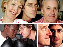 Clockwise from top: the Hamiltons, Jimmy Savile, Chris Eubank