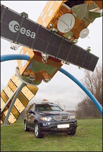 Car undserneath a satellite