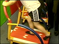 Youngster on treadmill at Gymkids