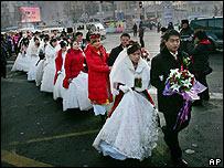 A mass wedding in Harbin, China, on 8 January 2007