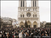 Mourners outside Notre Dame