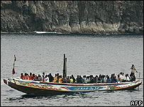 Migrant boat off Tenerife