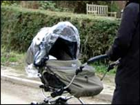 Woman walking pram
