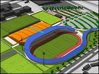 Impression of the stadium which was planned for Sighthill