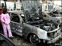 Burnt cars in Beirut, one day after clashes