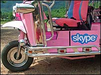 Scooter with the Skype logo