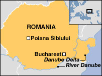Map of Romania showing Poiana Sibiului