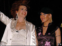 Cleo Rocos (left) and Jo O'Meara leaving Celebrity Big Brother