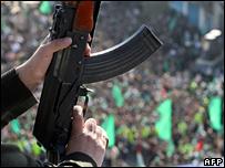 Gun at Hamas rally in Gaza