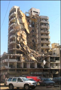 A destroyed building in Beirut's southern suburbs