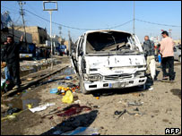 The vehicle used by one of two suicide bombers in New Baghdad district