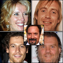 Clockwise from top left: Emma Thompson, Rhys Ifans, Bryn Terfel and Ioan Gruffudd, centre Tom Jones