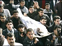 Mourners carry body of Hamas supporter at Gaza funeral, 27 January