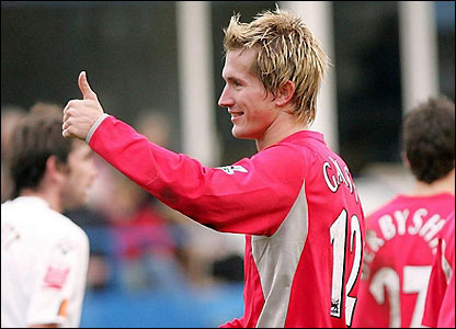 Morten Gamst Pedersen salutes Blackburn's fans after scoring