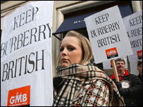 Burberry workers protest in London