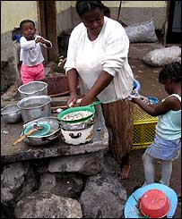 A mother washes the dishes in the Chota Valley