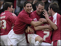 Bristol City celebrate Scott Murray's equaliser against Middlesbrough