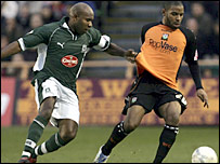 Plymouth's Barry Hayles works hard for his side