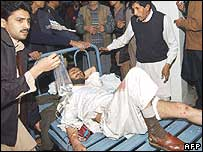Man injured in Peshawar blast is treated in hospital