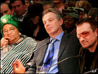 Tony Blair, rock musician Bono (right) and President of Liberia Ellen Johnson Sirleaf