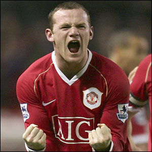 Wayne Rooney celebrates his second goal