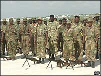Ethiopian soldiers at a leaving ceremony (23 Jan)