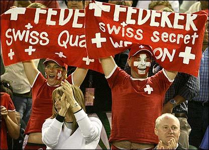 Roger Federer's Swiss fans celebrate
