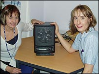 Matron Gwen Hobbs and nurse Helen Alnutt with one of the new machines