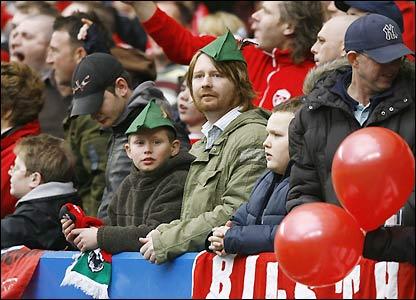 Forest fans dressed as Robin Hood soak up the Stamford Bridge atmosphere