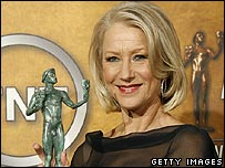 Helen Mirren with her Screen Actors Guild award